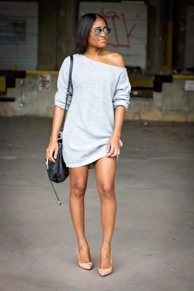 Love this simple, oversized sweater dress. Big fan of off the shoulder