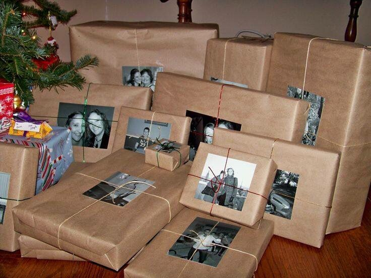 LOVE THIS IDEA....instead of name tags...BLACK & WHITE PHOTOS of the PERSON for whom the GIFT IS FOR!!!  Love this fun idea!!