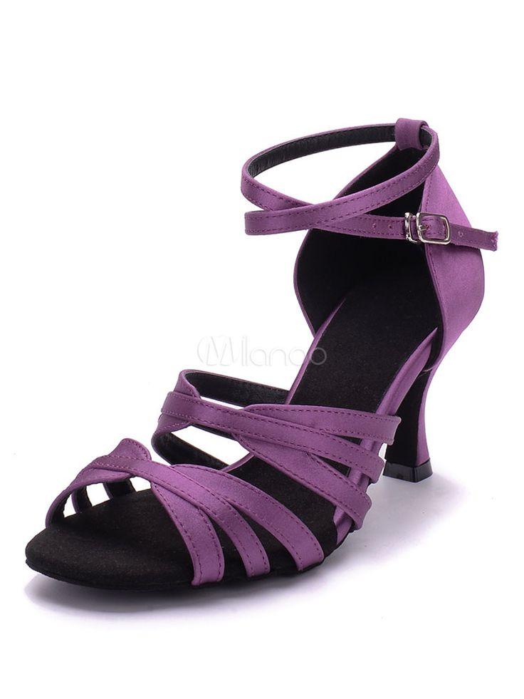 Zapatos de bailes latinos de puntera abierta de tacón de stiletto de satén para baile latino - Milanoo.com