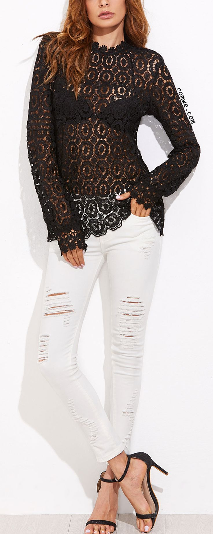Black Hollow Out Floral Crochet Top