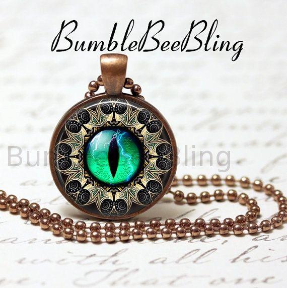 Eye Pendant Necklace  Antique Copper Bezel Art by BumbleBeeBling, $10.00