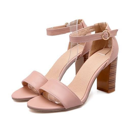 New Arrival Summer Solid Color Ankle Strap High Heels Sandals Shoes 3 Colors