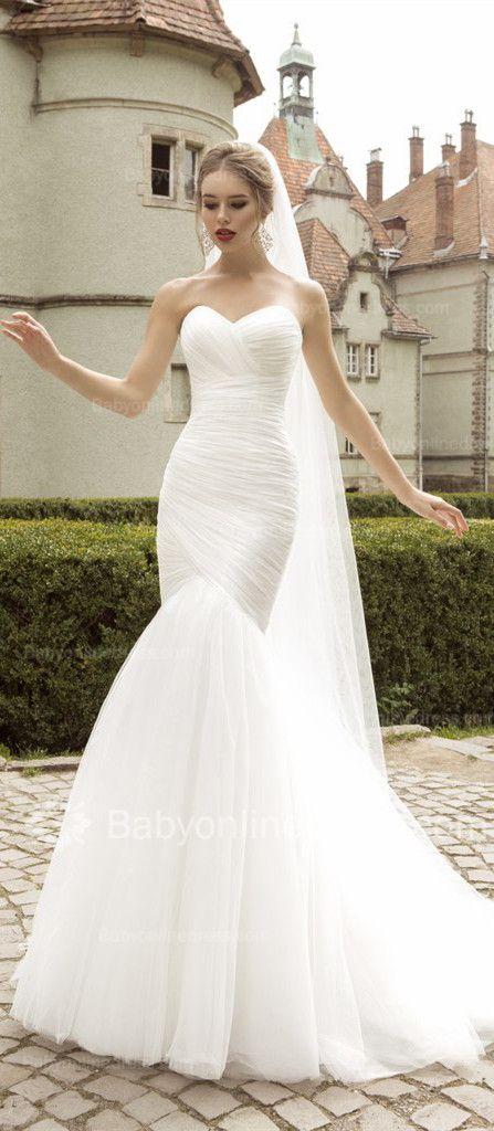 Elegant Mermaid Organza Bridal Gowns 2015 Sweetheart Ruffles Wedding Dresses Mermaid.Wedding Dress long