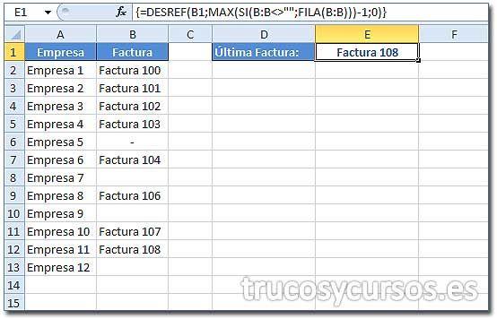 Valor de la última fila con datos de una columna Excel