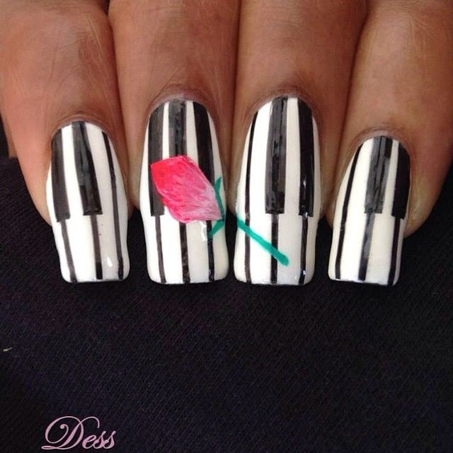 """#music #piano #nails #nailart #uñas #ongles #unghie #ногти #unhas All the black parts are striping tape. The #rose is acrylic paint #blackandwhite #flower #Nägel #nokti #nagels #negler #paznokcie #kynnet #ногти #blackandwhitebydess #WhiteNailsByDess"" Photo taken by @dess_sure on Instagram, pinned via the InstaPin iOS App! http://www.instapinapp.com (09/28/2014)"