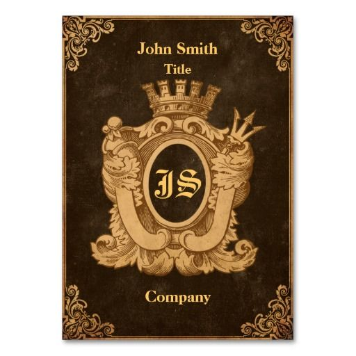 Grunge Heraldry Monogram Business Card Templates