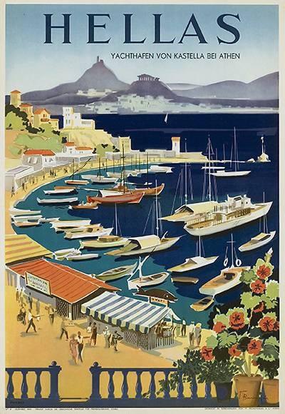 Hellas / Greece vintage travel poster ~ 'Yachthafen von Kastella bei Athen'