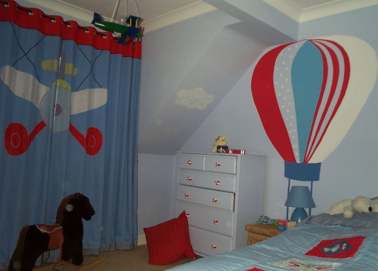kids room aeroplane blue red kids room curtains for boy set on the window - Red Kids Room Decor
