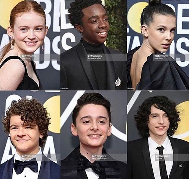 The Stranger Things cast at the Golden Globe Awards.❤️❤️❤️❤️❤️❤️