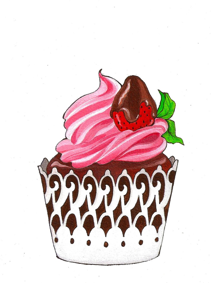 срисовать картинки пирожное рисунок