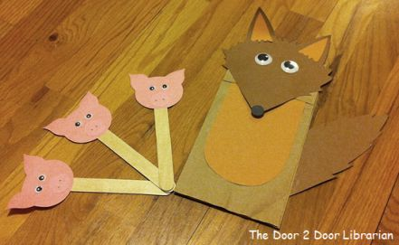 Puppets. Paper bag puppets. Stick puppets. Three little pigs. Big bad wolf. Nursery rhymes. Storytime. Preschool. Library. Home school. Every Child Ready to Read. ECRR.