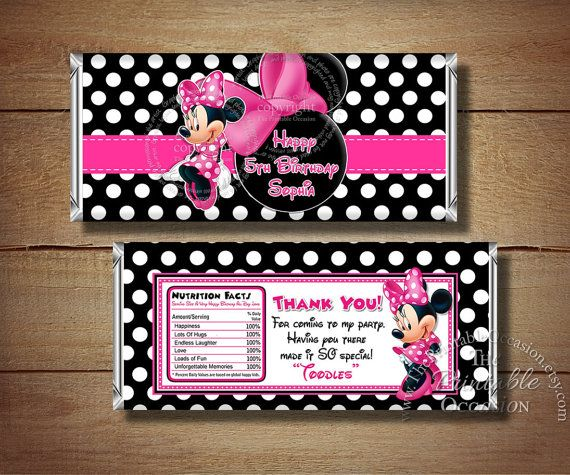 Printable Minnie Mouse Candy Bar Wrapper by ThePrintableOccasion