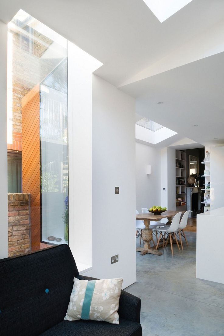 Apartments, Smart Extension Makes Room For A Larger Brighter Kitchen With Skylight Black Fabric Sofa Wooden Dining Table With Four Chair: Cheerful, Contemporary  Renovation Remodel Victorian House in London
