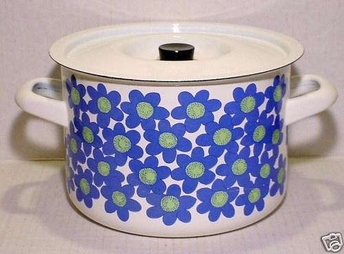 FINEL Finland Blue Flowers Enamel Stock Pot