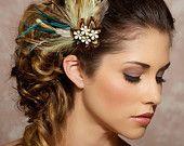 Sposa della Boemia, piuma Fascinator, avorio capelli Clip, verde menta, moka, strass Vintage - su ordinazione - CLAUDETTE