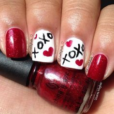 VALENTINE nail art by lovemynails_ | See more nail designs at http://www.nailsss.com/nail-styles-2014/