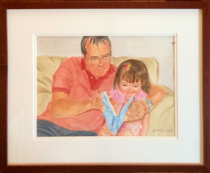 Quality time with Grandpa #portraits #family #watercolor #restorativeportraits #unique