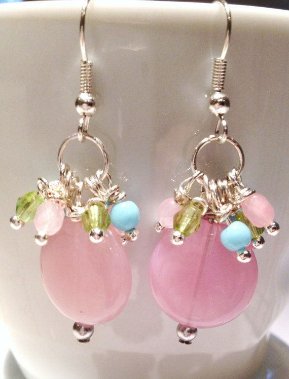 Earrings with Pink Turquoise and Lime Cluster