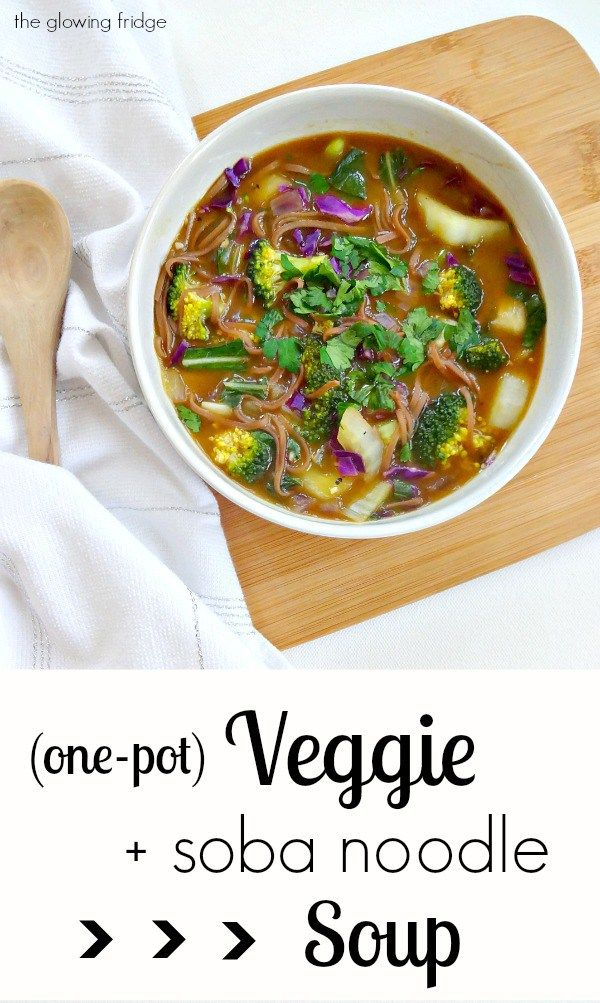One-Pot Veggie and Soba Noodle Soup - Vegan and can be made Gluten Free - this comforting asian-inspired soup is healing, cleansing and full of wholesome veggies. Perfect for winter!