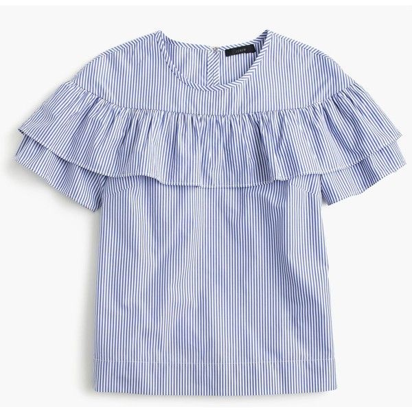 J.Crew Edie Top (£29) ❤ liked on Polyvore featuring tops, blouses, j.crew, flounce tops, striped top, stripe cotton shirt, shirt top and frilly tops