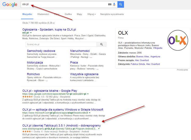wynik google dla olx pl