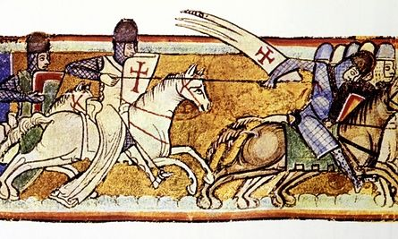 Ortaçağdan Cressac şapel, Fransa, A fresk, Tapınak Şövalyeleri Haçlılar gösterir.