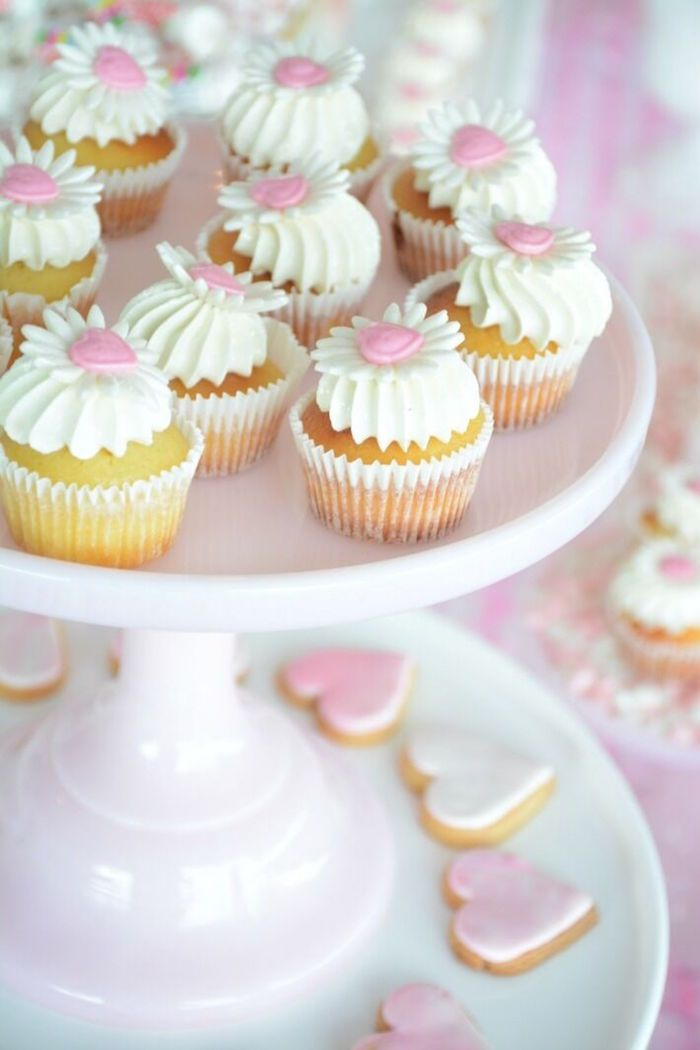 Cupcakes and heart cookies from a Vintage Valentine's Day High Tea Party on Kara's Party Ideas | KarasPartyIdeas.com (9)