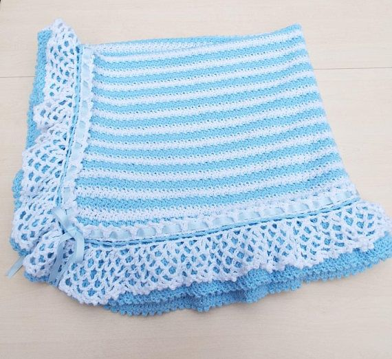 Hand crochet stripe baby blanket afghan  crocheted lacy