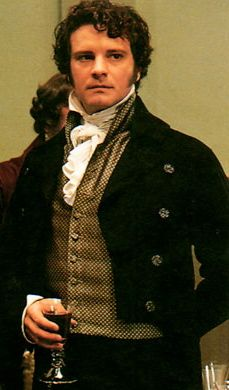 Colin Firth as Mr. Darcy. sadly, I am going to photo shop Godzillas face on it. Don't ask.
