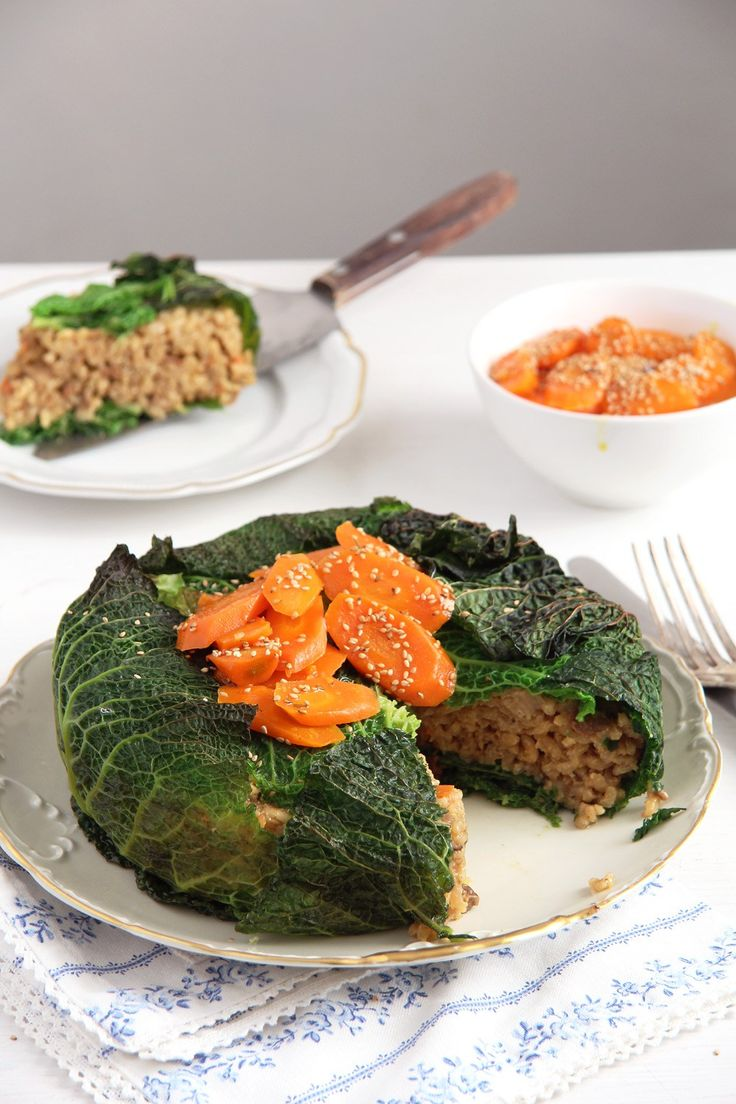 """Porcini Risotto Savoy Cabbage """"Cake"""" -  I may have to add additional finely-diced veggies to the risotto...or maybe serve with a roasted red pepper sauce???"""