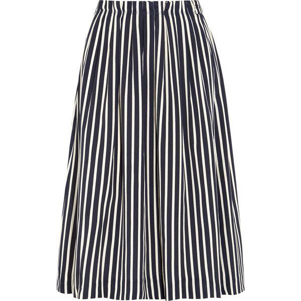J.Crew Catalpa striped crepe de chine midi skirt ($110) ❤ liked on Polyvore featuring skirts, midi skirt, stripe midi skirt, navy midi skirt, navy stripe skirt, metallic skirts and striped midi skirt