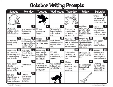 Lakeshore Learning October 2011 Writing Prompts
