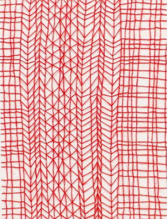Knit: Red Stitches, Emily Barletta, Stitches Patterns, Art, Textiles, Hands Drawn, Red Patterns, Embroidery, Paper Drawings