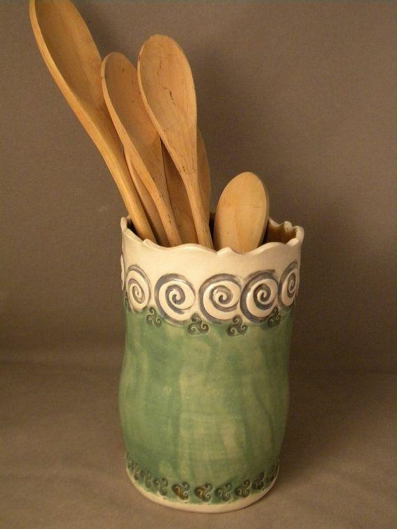 17 best images about pottery utensil holders on for Kitchen utensil holder