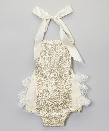Another great find on #zulily! Gold Glitter Bubble Romper - Infant by Baby Gem #zulilyfinds