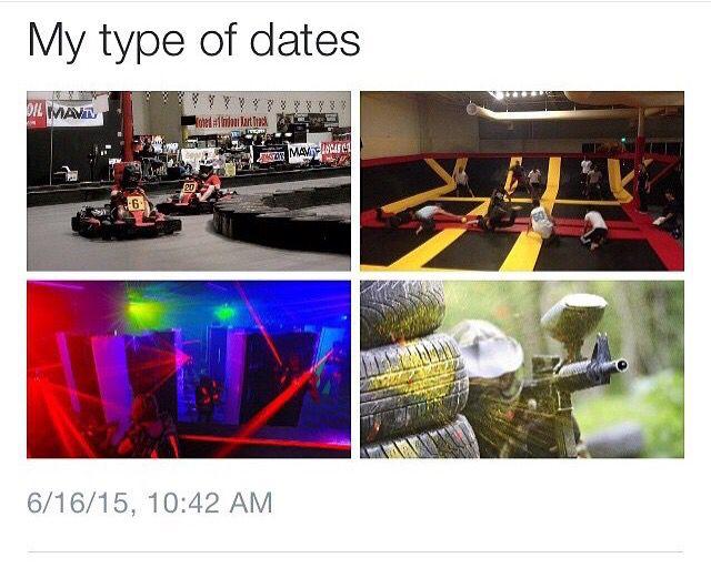 Hell yeah. Bowling. Bumper cars. Go karts. Laser tag. Picnics. Movies. Swinging at the park. Baking. Naps..... Im pretty simple.