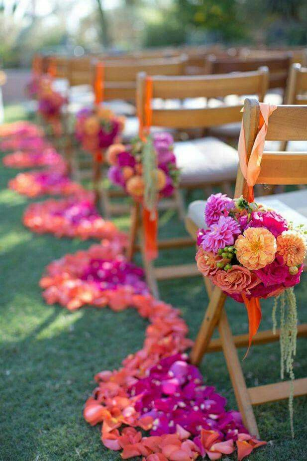 Sunset wedding theme aisle