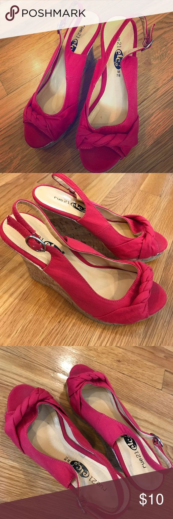 Hot pink braided wedges! Never worn Rue21 wedges, 4 inch heel, cork wedge, hot pink toe and buckle strap, size M fits a 7/8 Rue 21 Shoes Wedges
