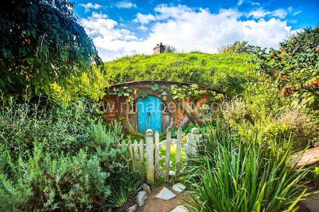 Hobbit home with blue door at Hobbiton in New Zealand