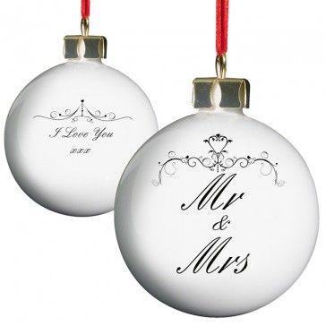 elegant Mr and Mrs christmas bauble