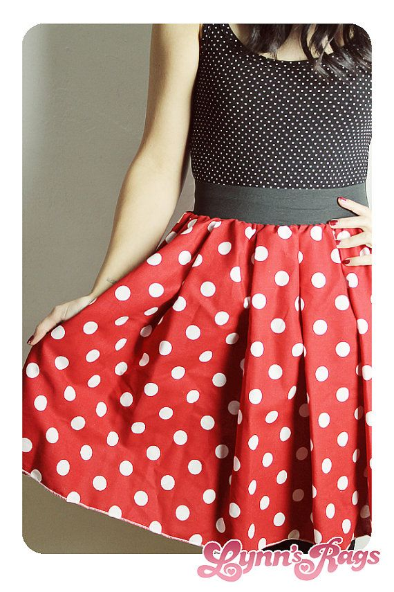 MINNIE MOUSE SKIRT Handmade Disney Skirt Halloween by lynnsrags-- I would actually wear this