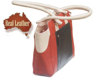 gumtreeREAL LEATHER SHOULDER TOTE BAG IN MULTI-COLOUR LEATHER