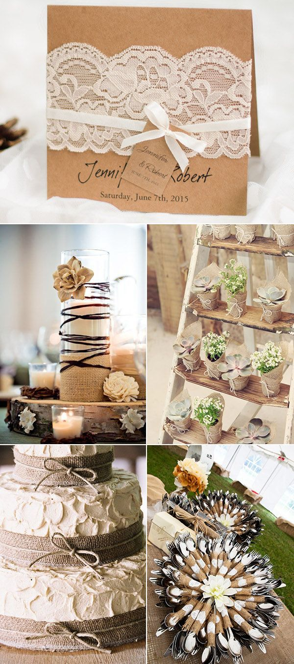 lace and burlap rustic wedding ideas and wedding invitations