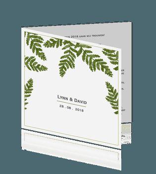 Trouwkaart met rustiek groene varen blaadjes #trouwen #trouwkaart