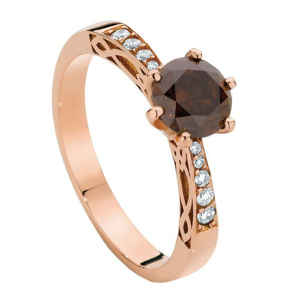 Round Engraved Engagement Ring Rose Gold | Celtic
