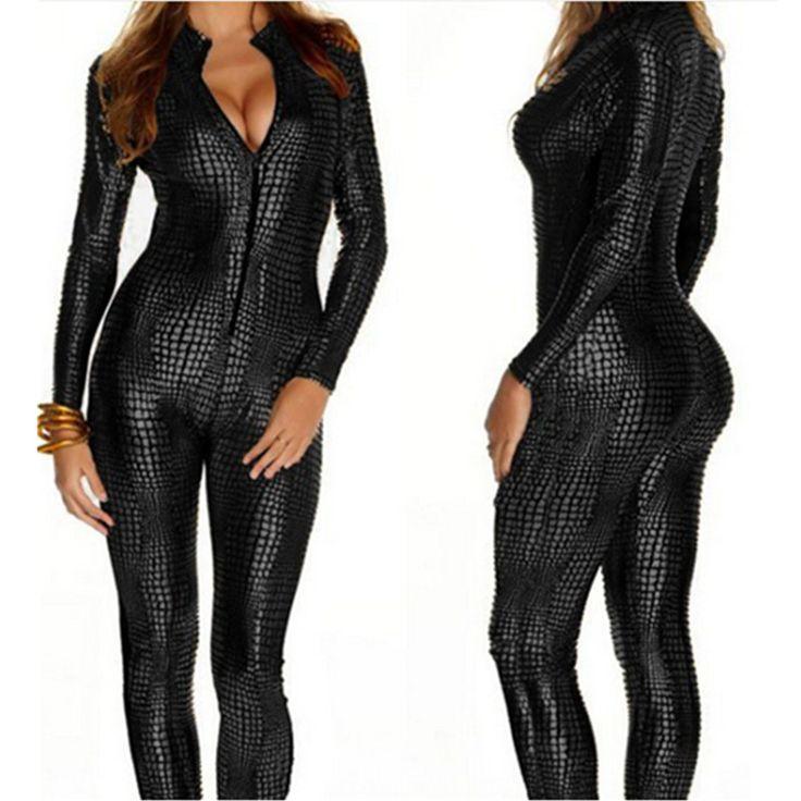 European Sexy Faux Leather Snake Skin Jumpsuit Front Zip Long Sleeve 3 Color Bodysuit Spandex Catsuit Women M7241