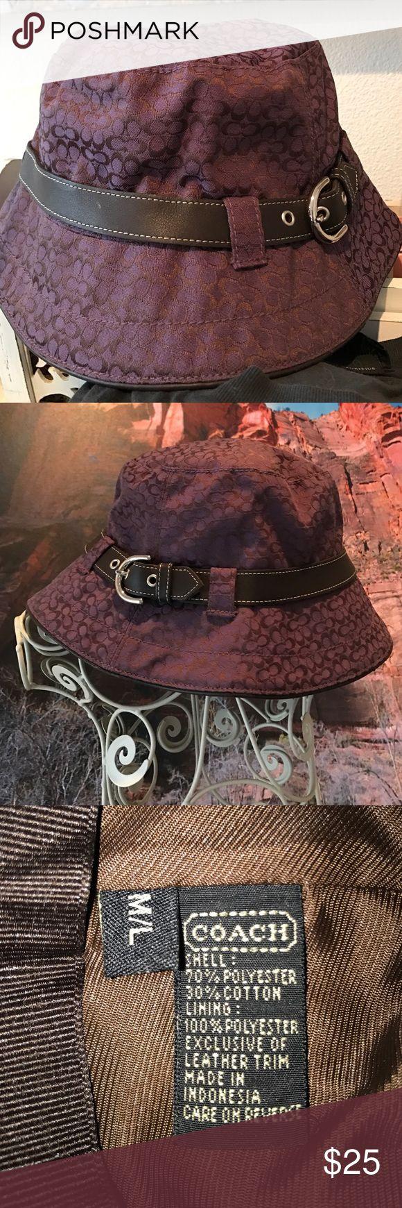 Authentic Coach hat Super cute plum colored bucket hat. Coach Accessories Hats