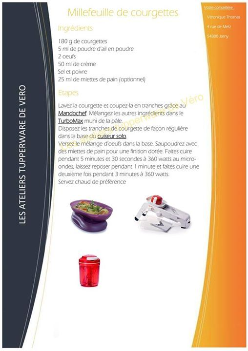 Millefeuille de courgettes - Tupperware