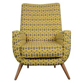 Heal's Dinky Easy Chair in Scion Lace Fabric cool armchair in yellow and grey