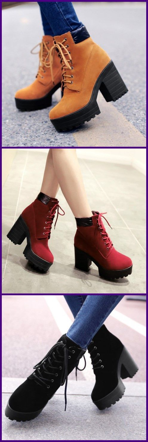 Fashion Lace-up Chunky Heel Boots